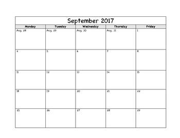 Simple Calendar - School Year 2017-2018