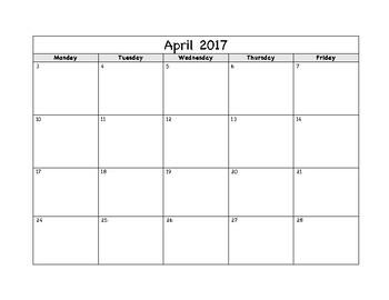 Simple Calendar - school year 2017