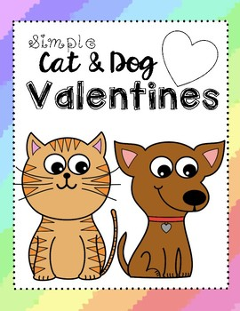 Simple Cat and Dog Valentines Cards