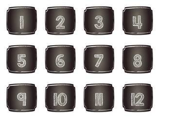 Simple Chalkboard Calendar Headers and Numbers