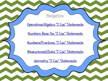 """Simple Chevrons - 3rd Gr. CCSS Math """"I Can"""" Statements"""