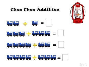 Simple Choo Choo Train Math Addition Worksheet