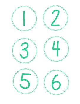 Simple Circle Number Cards, Beachy Colors