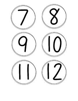 Simple Circle Number Cards, Black