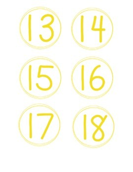Simple Circle Number Cards, Yellow