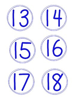 Simple Circle Number Cards, Blue