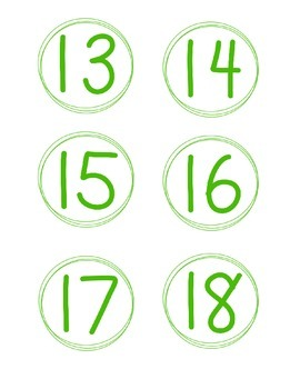 Simple Circle Number Cards, Green