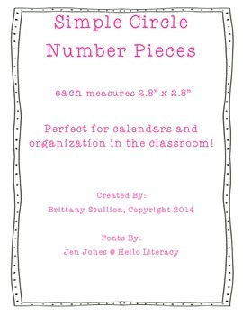 Simple Circle Number Cards, Pink