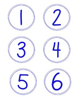 Simple Circle Number Cards, Primary Colors