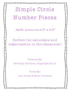 Simple Circle Number Cards, Purple