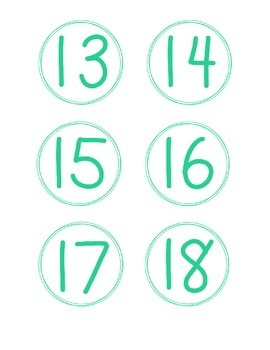 Simple Circle Number Cards, Teal