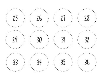 Simple Circle Numbers Labels 1 through 48