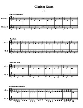 Simple Clarinet Duets for Beginner Band Students