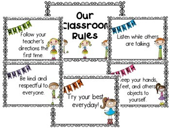 Simple Class Rules with cute kid clipart