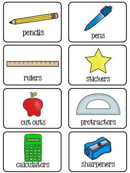 Simple & Classic School Supplies Labels