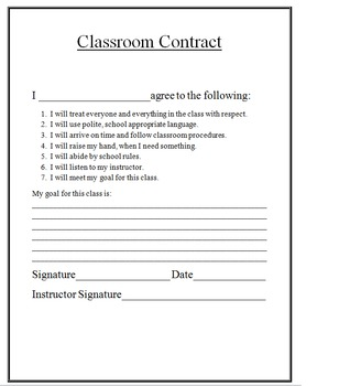 Simple Classroom Contract for High School