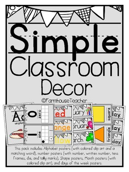 Simple Classroom Decor Posters-Alphabet, Numbers, Shapes, Colors, Months, Days