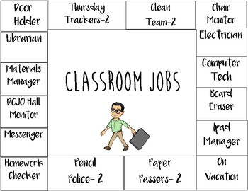 Simple Classroom Jobs Chart (for number clips)
