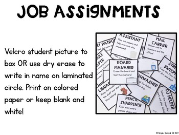 Simple Classroom Jobs for Special Education