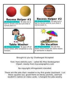 Simple Classroom Jobs with clipart & descriptions