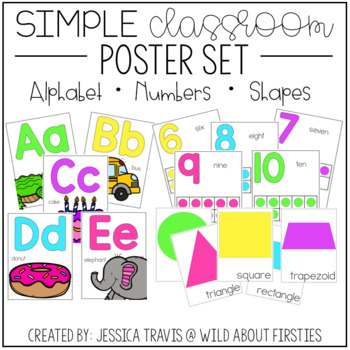 Simple Classroom Posters {Alphabet.Numbers.Shapes}