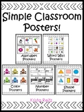 Simple Classroom Posters {Alphabet, Word Wall,Numbers, Col