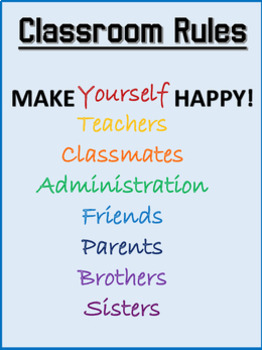 Simple Classroom Rules Poster