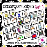 Simple & Bright Classroom Labels (Small and Large set)- Set 1