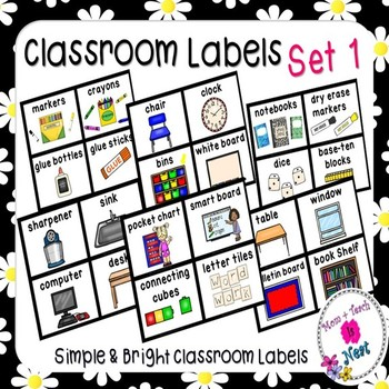 Simple & Bright Classroom Labels (Small and Large set)