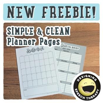 SLP Planner 2017-2018 Freebie
