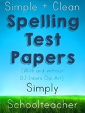 Simple + Clean Spelling Test Papers