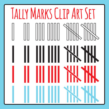 Simple Clean Tally Marks Clip Art Set for Commercial Use
