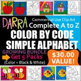 Simple Color by code clip art - Alphabet Bundle