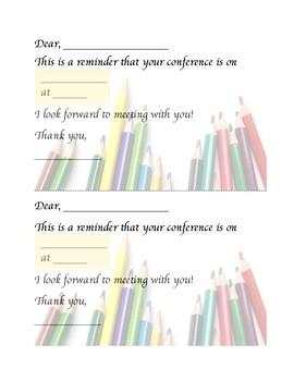 Simple, Colorful Parent Teacher Conference Confirmation Form