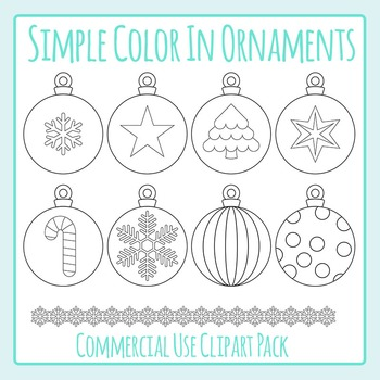 Simple Coloring Christmas Ornaments / Baubles Clip Art Pack for Commercial Use