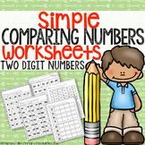 Simple Comparing Numbers Worksheets (2 digit numbers)
