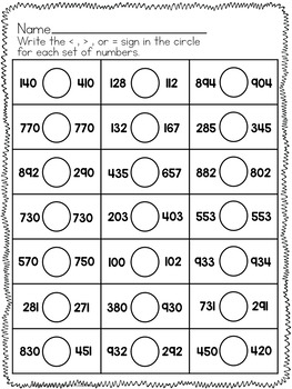 Simple Comparing Numbers Worksheets (3 digit numbers) by Stephany Dillon