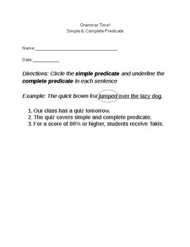Simple & Complete Predicate Worksheets/Quizzes (10 count)