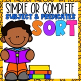 Simple & Complete Subjects and Predicates Sort