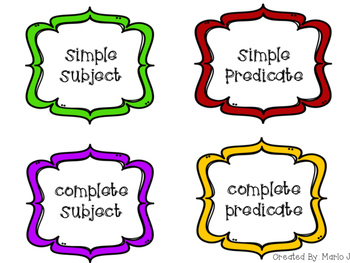 Simple & Complete Subjects and Predicates Sort Super Hero Themed