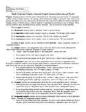 Simple, Compound, Complex, Compound-Complex Sentences: Info & Practice & KEY