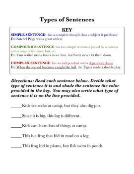 Simple, Compound, & Complex Sentence Practice