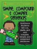 Simple, Compound, Complex Sentence Sort Activity