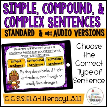 Simple, Compound, & Complex Sentence Sort Boom Cards