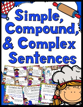 Simple, Compound, & Complex Sentences Game - Anchor Charts - Student Handout