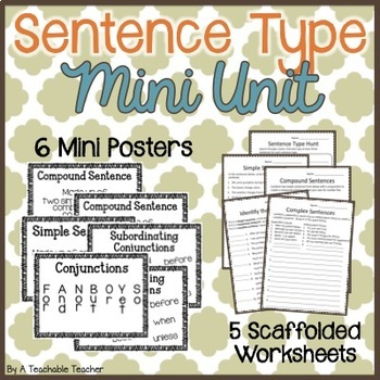 Simple, Compound, & Complex Sentences {Mini Posters & Practice Worksheets}