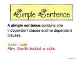 Simple, Compound, Complex Sentences Poster Handout