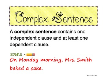 Simple, Compound, Complex Sentences Poster Handout