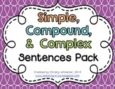 Simple, Compound, & Complex Sentences Review Pack