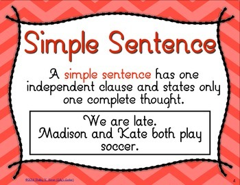 Simple, Compound & Complex Sentences Task Cards L.3.1i